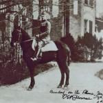 Charles Kilbourne astride a horse after World War I